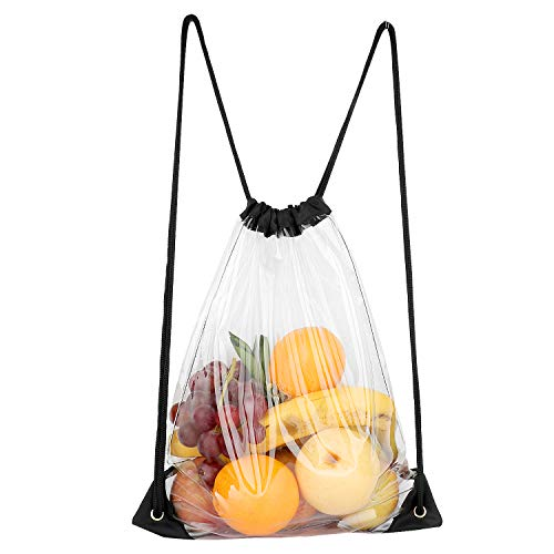 Vorspack TPU Clear Drawstring Bag Backpack Waterproof Stadium Approved Clear Bag for Sports Event Music Festival Travel (Best Bag For Music Festival)