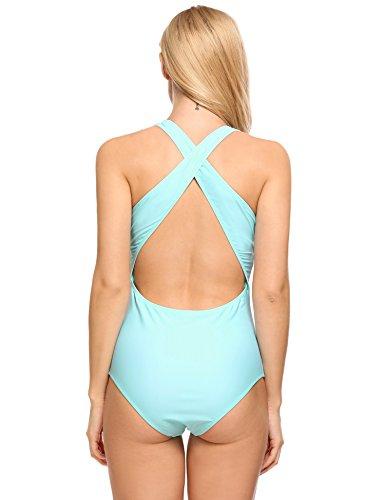 5aba9b49f9b Ekouaer Womens Sexy Ruffle Criss Cross Back One Piece Swimsuit Monokini  Swimwear