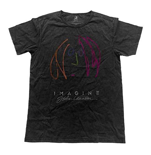 - John Lennon T Shirt Self Portrait Official Mens Vintage Finish Black Size L
