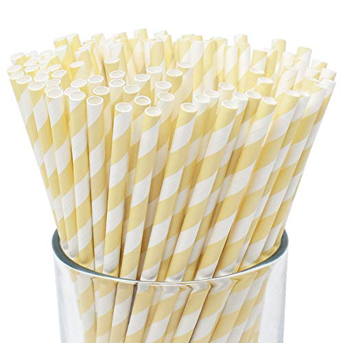 Just Artifacts 100pcs Premium Biodegradable Striped Paper Straws (Striped, Ivory)