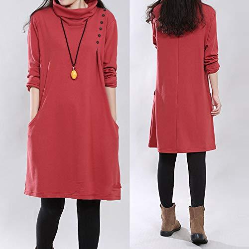 Larga Bolsillo Cuello Vestidos Rojo Vestido Algodón Manga Y Grandes Retro Mujer Casual Lino Tallas Alto Dogzi Botón Suelto AXgqWP7wxW