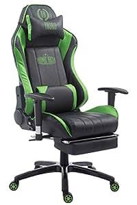 Racing–Silla de oficina Drift con reposapiés negro/verde