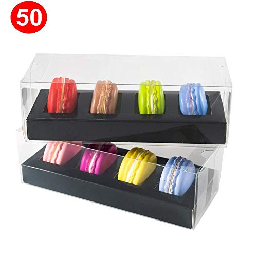 50 pcs Black 4 Macaron Boxes Plastic Clear Food Box For macarons from RomanticBaking