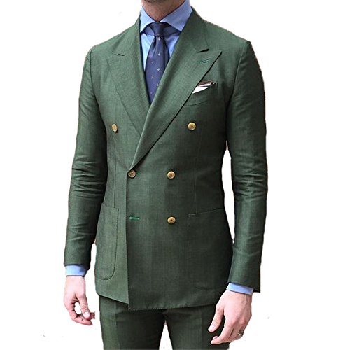 Double Tuxedo Peak Breasted Jacket (BOwith Double Breasted Green Men Suits terno Slim Fit 2 Pieces Party Tuxedo For Men-Green-3XL)