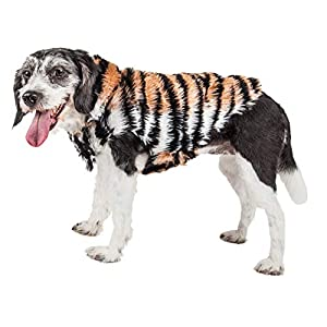 Pet Life ® Luxe 'Tigerbone' Glamourous Tiger Patterned Mink Fur Dog Coat Jacket, X-Small, Brown Click on image for further info.