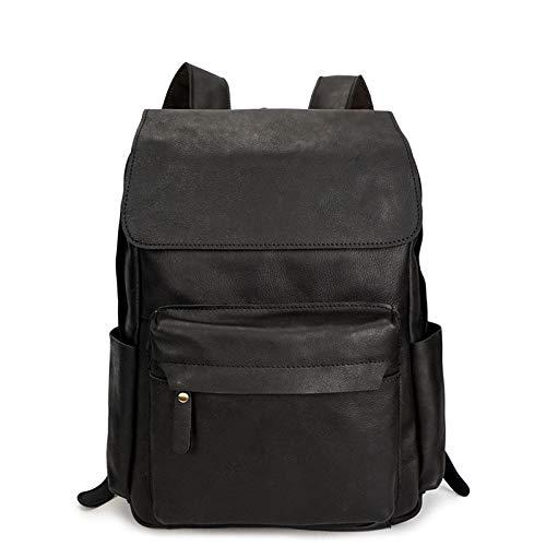 サイドポケット付きレザーバックパック、男性用ヴィンテージマルチポケット旅行スポーツバッグラップトップブックバッグ B07QLRRXHH