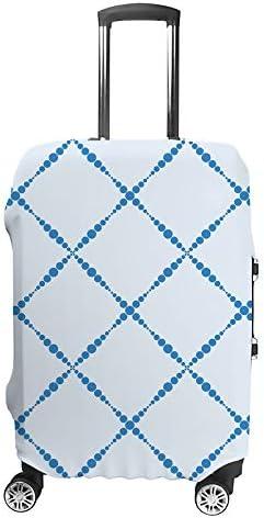スーツケースカバー 格子縞 青色 伸縮素材 キャリーバッグ お荷物カバ 保護 傷や汚れから守る ジッパー 水洗える 旅行 出張 S/M/L/XLサイズ