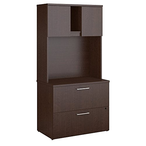 Bush Business Furniture 400 Series Lateral File Cabinet with Hutch in Mocha Cherry - Filing Cabinet Hutch