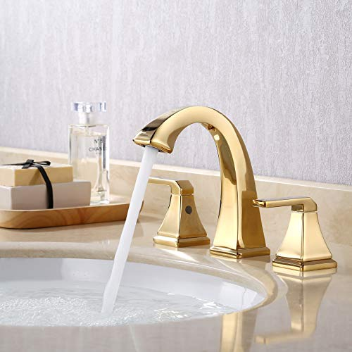 KES 8-Inch Widespread Bathroom Faucet Two Handle 3 Hole Sink Faucet Set Lead Free Brass with Supply Hoses and Drain Assembly Polished Brass Finish, L4315LF-PG (Sink Faucet Sets And)