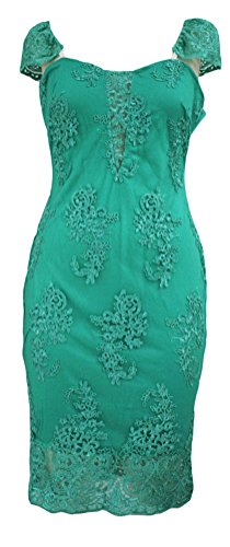 YeeATZ Women's Green Embroidered Cap Sleeves Bodycon Party (Seventeen Magazine Halloween Nails)