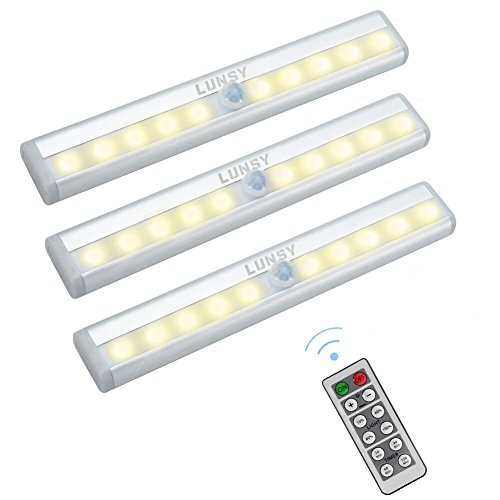 Price comparison product image LUNSY Closet Lights Battery Operated,  Wireless Remote Control LED Under Cabinet Lighting,  Stick-on Anywhere 10 LED Night Light Bar,  Safe Lights for Closet Cabinet Wardrobe Stairs,  3 Pack
