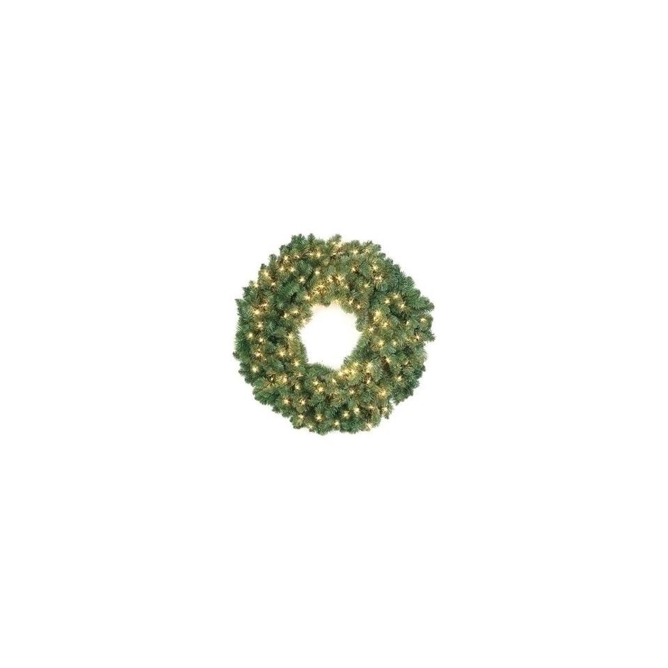 48 Pre Lit Artificial Douglas Fir Christmas Wreath 150 Clear Lights #161736