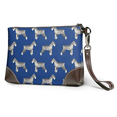 Schnauzer Dog Leather Wristlet Clutch Bag Zipper Handbags Purses Phone Wallets With Strap Card Slots