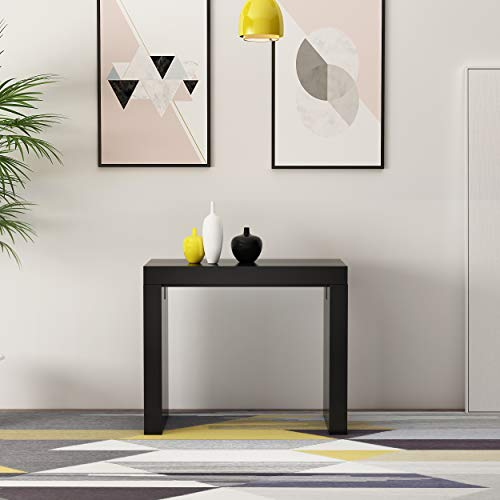 Extendable Space Saving Modern Dining Table, Transforms from a Console Table or Desk to a Large Dining Table That Seats Up to Twelve (Blackwood 2.0)