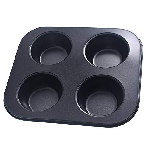 - veveshop Multi 4 Hole Fluted Flan Loose Pie Baking Base Tart Tin Quiche Bake Tray Mould carbon steel+non-stick coating black for baking muffins, cupcakes, breads, gelatin 21.5 cm19 cm, depth3 cm
