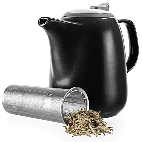 Fine Stainless Steel Serveware - Tealyra - Daze Ceramic Large Teapot Black - 47-ounce (6-7 cups) - With Stainless Steel Lid Extra-Fine Infuser for Loose Leaf Tea - 1400ml
