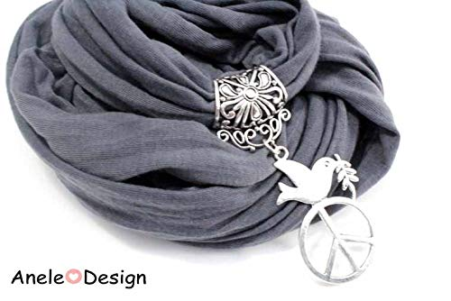 É charpe foulard bijou gris, Oiseau peace and love