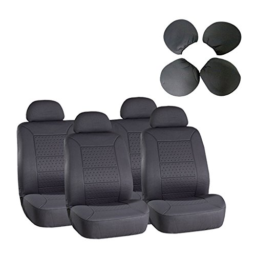 Seat Cover CCIYU Universal Car Seat Cushion w/Headrest - 100% Breathable Washable Automotive Seat Covers Replacement for Most Cars Trucks Vans (Gray)