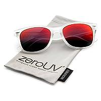 zeroUV ZV-8025q Retro Matte Black Horned Rim Flash Lentes de colores, Frost Carmesí, 50 mm