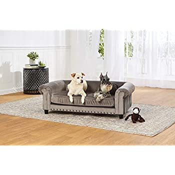 Enchanted Home Pet Co2786-16Gry Manchester Velvet Tufted Pet Sofa in Grey