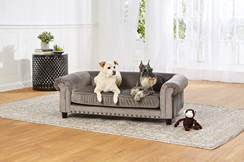 Enchanted Home Pet Co2786-16Gry Manchester Velvet Tufted Pet Sofa in Grey (Tufted Bed Dog)