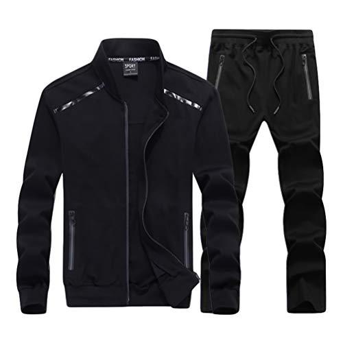Sports Survêtement Fitness Veste Wanyangg shirt Complet Deux Zipper Jogging Set Homme Pièces Cordon Poche Pantalons Manches Sweat Loisirs Noir Unie Flexible Longues Couleur 9xl qFFRa5
