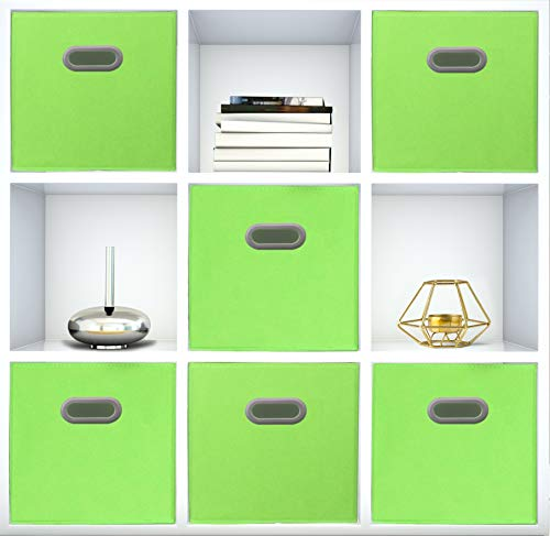 Adorn Home Essentials| Dual Handle Foldable Cloth Storage Cube| Basket, Bins, Containers and Drawer Organizer| 6- Pack - Lime Green ()