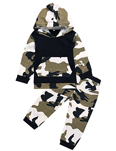 iCrazy Baby Boys' Camouflage Hoodie + Long Pants Outfits Set Clothes (0-3 Months, Camouflage)