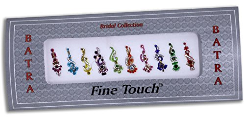 10 Long Bollywood Designer Bindis Premium Crystal Jewels Mettallic Bindi Stickers Tattoos Forehead Tika