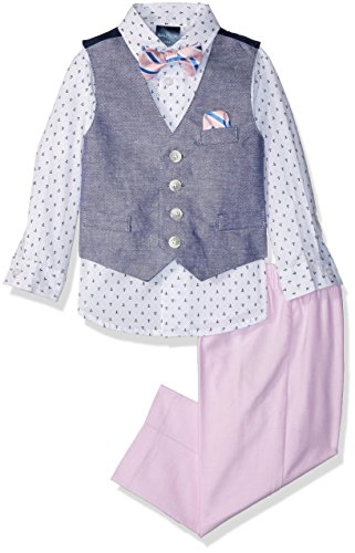 Nautica Baby Boys Set with Vest, Pant, Shirt, and Tie, Medium Pink Basketweave, - Tie Basketweave