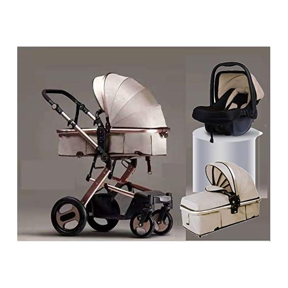 BabyTeddy 4 in 1 Baby Stroller Easy Fold, for Newborn Baby/Kids, 0-4 Years Stroller/Pram (Royal Gold)
