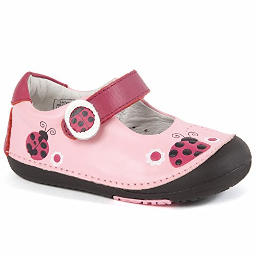 Momo Baby Girls First Walker Toddler Ladybugs Mary Jane Leather Shoes - Pink 6 ()