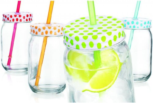 Set of Four (4) 15-oz Colorful Polka Dots Mason Jar Beverage Cups ~ 4 Clear Glass Drink Cups with Metal Lid, Straw Included