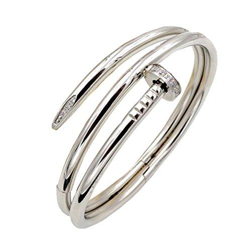 [Baoli Women's Titanium Steel Diamond 2 layer Nail Cuff Bangle Bracelet Silver Tone] (Diamond Steel Bangle)