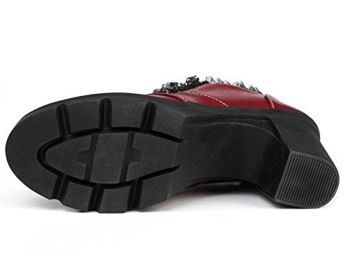DADAWEN Women's Zipper Platform Oxfords Mid Block Heel Dress Court Shoe Burgundy SkfNcrRPw