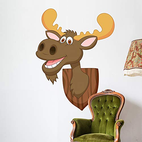 Wallmonkeys Moose Head Cartoon Wall Decal Peel and Stick Animal Graphics (60 in H x 46 in W) WM215424