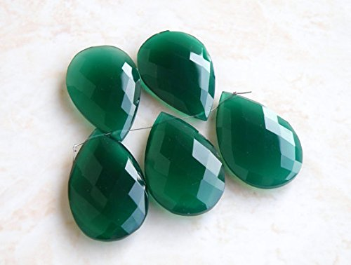 - Green Onyx Gemstone Briolette Faceted Pear Tear Drop Large Focal Pendant 24mm 5 beads matched