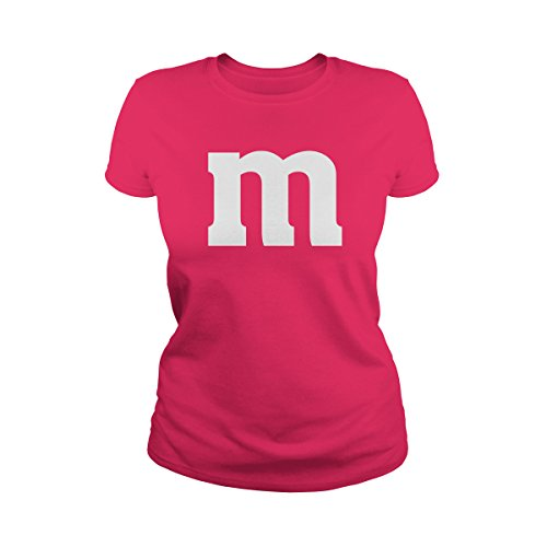 Poogky Women's Letter M Halloween Costume T-Shirt (M, Hot Pink)