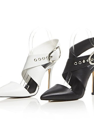 ShangYi Womens Shoes Cowhide Chunky Heel Heels / Pointed Toe Heels Office & Career / Party & Evening / Dress Black / White White
