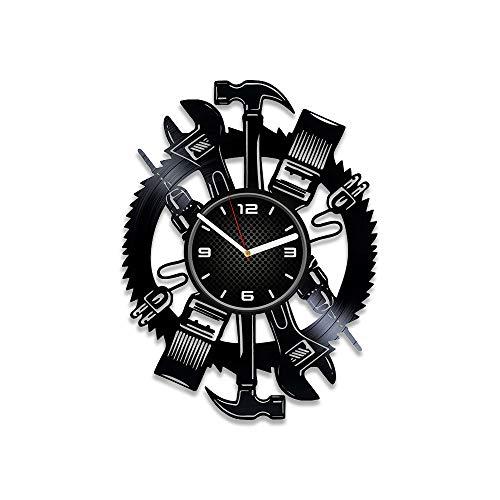 DecorStudioUA Mechanic Tools Vinyl Record Wall Clock Car Gift 12 inch Clock Mechanic Tools Wall Clock Vintage Car Clock Mechanic Tools Auto Vinyl Clock Mustang Gift Car Art Xmas Gift for Man