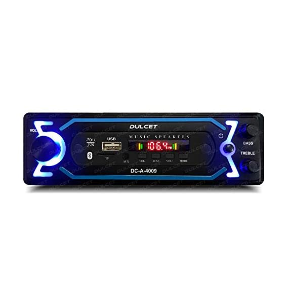 Dulcet DC-A-4009 Double IC High Power Universal Fit Mp3 Car Stereo with Bluetooth/USB/FM/AUX/MMC/Remote & Built-in Equalizer with Bass & Treble Control [Also, Includes a Free 3.5mm Premium Aux Cable]