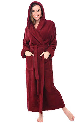 Alexander Del Rossa Womens Turkish Terry Cloth Robe, Long Cotton Hooded Bathrobe, 1XL 2XL Burgundy (A0127WBG2X)