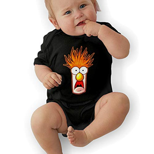 Jamychalsh Beaker The Muppets Face Fashion Newborn Bodysuits Unisex Baby Crawling Suit Black