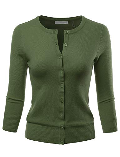 LALABEE Women's 3/4 Sleeve Crewneck Button Down Knit Sweater Cardigan SAGE S