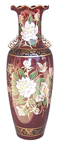 "ADI 7182 Oriental Floral and Bird with Burgundy Background 36"" Tall Ceramic Vase"