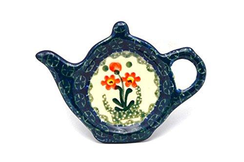 Polish Pottery Tea Bag Holder - Peach Spring Daisy