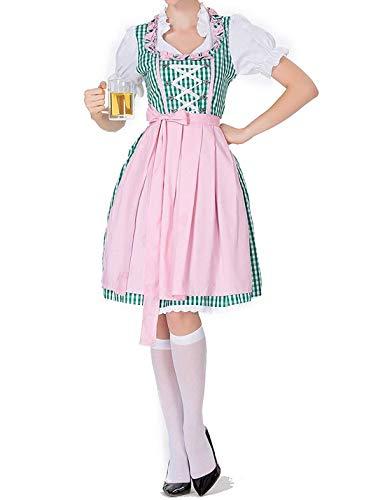 Women German Dirndl Dress Oktoberfest Halloween Carnival Maid Cotsume Pink
