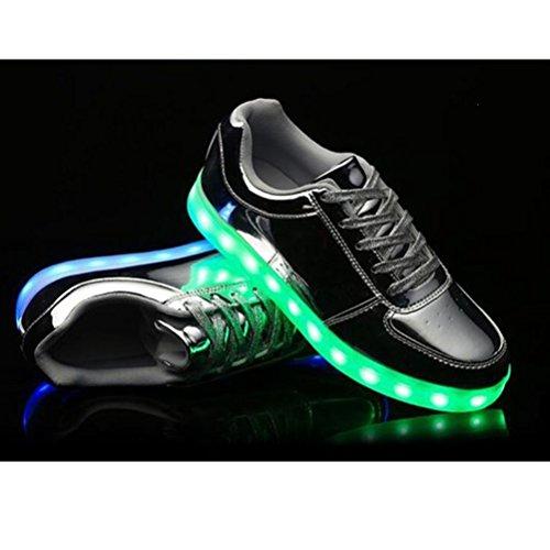 [Present:kleines Handtuch]JUNGLEST® [Led Schuhe] Unisex Männer Frauen USB-Lade 7 Farbwechsel LED beleuchteter Licht Paar beiläufige Spo c38