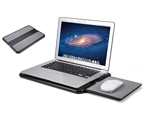 AboveTEK Portable Laptop Lap Desk w/Retractable Left/Right Mouse Pad Tray, Non-Slip Heat Shield Tablet Notebook Computer Stand Table w/Sturdy Stable Cooler Work Surface For Bed Sofa Couch or - Lap Notebook Cooler