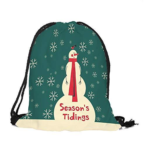(✈ HYIRI Merry Christmas Candy Bag High Capacity Pocket Drawstring Storage Bag)